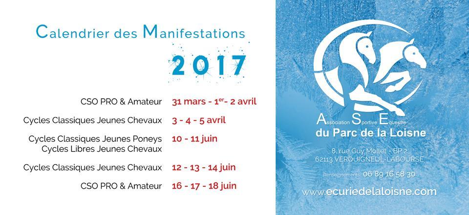 Calendrier des Concours et Manifestations 2017