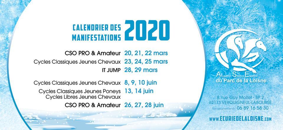 Calendrier des Concours et Manifestations 2020