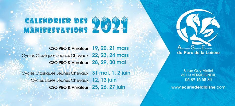 Calendrier des Concours et Manifestations 2021